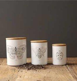 Creative Co-op Stoneware Jar, Butterfly