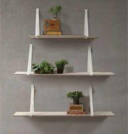 Creative Co-op Wood Shelf w/ Fabric Brackets