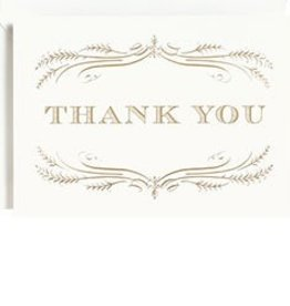 Waste Not Paper Filigree Foil Thank You, Boxed Set