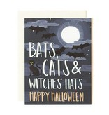 1Canoe2 Bats Cats Halloween Card