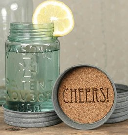 CTW Home Cheers Mason Jar Coaster, Box/4