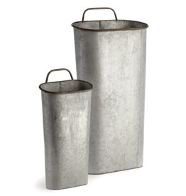 Napa Home and Garden Paris Demi Buckets, Galvanized, Lg