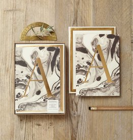 Katie Leamon Marbled Alphabet Card - A