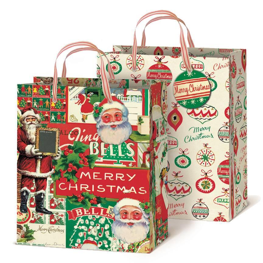 cavallini papers vintage christmas gift bag set