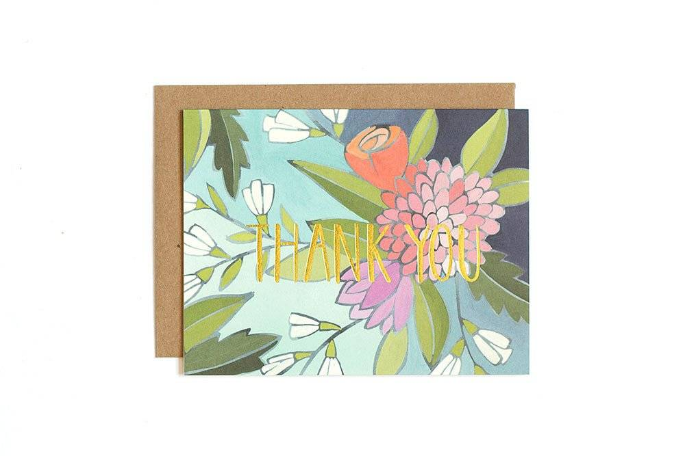 1Canoe2 Floral Foil Thank You Card