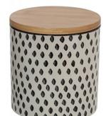 Creative Co-op Stoneware Jar w/ Wood Lid, SM