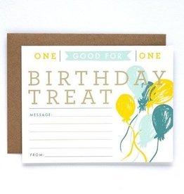 9th Letter Press Birthday Treat Card