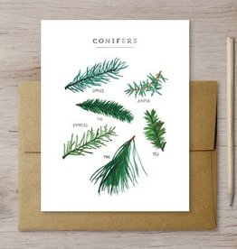Favorite Story Evergreen Holiday Card W/ Kraft Envelope