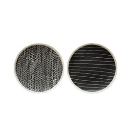 Creative Co-op Stoneware Plate, BLK, 2 Styles