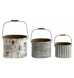 Creative Co-op Vintage Tin Bucket, Lg