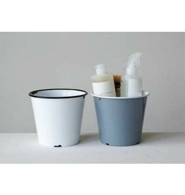 Creative Co-op Enamel Flower Pot - Gray