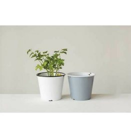 Creative Co-op Enamel Flower Pot - White