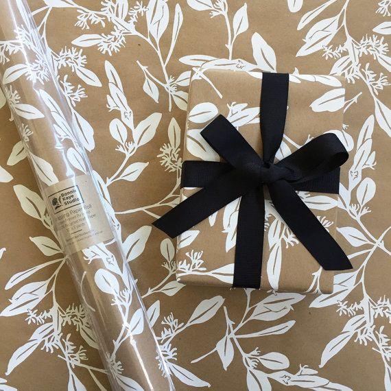 Bonnie Kaye Studio Eucalyptus Gift Wrap, Kraft & White