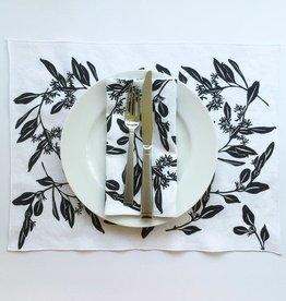 Bonnie Kaye Studio Eucalyptus Linen Napkin/Placemat - White