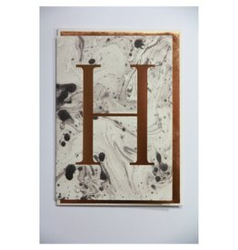 Katie Leamon Marbled Alphabet Card - H