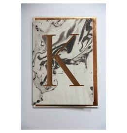 Katie Leamon Marbled Alphabet Card - K