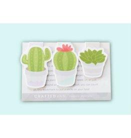 Crafted Van Succulent Cactus Mini Magnetic Bookmarks, 3pk