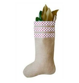 Creative Co-op Jute Stocking w/ Red Polka Dots