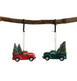 Creative Co-op Resin Truck Ornament, Green