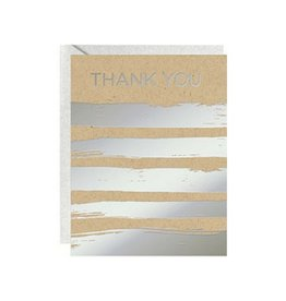 Waste Not Paper Silver Stripes Foil Thank You, Boxed Set