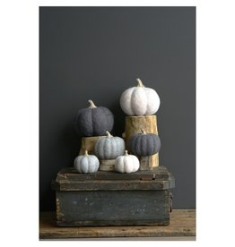 "Creative Co-op 5 1/2"" Felted Wool Pumpkin, 2 colors"
