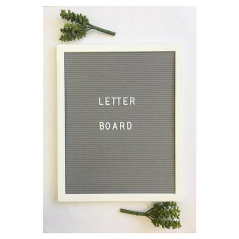 Aspen Lane Letter Board, White Frame/Grey