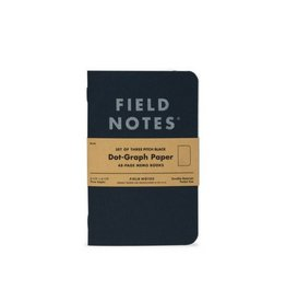 Field Notes Pitch Black Dot-Graph, Pack/3