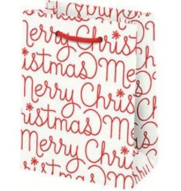 Waste Not Paper Merry Christmas Foil Script, Small Bag