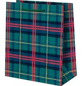 Waste Not Paper Holiday Plaid Foil, Medium Bag