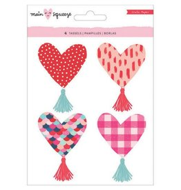 American Crafts Main Squeeze Heart Tassels Stickers