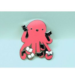 Crafted Van Octopus Reading Books Enamel Pin
