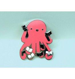 Crafted Van Octopus Reading Books Enamel Pin
