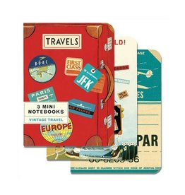 Cavallini Papers Mini Vintage Travel Notebooks, Set/3