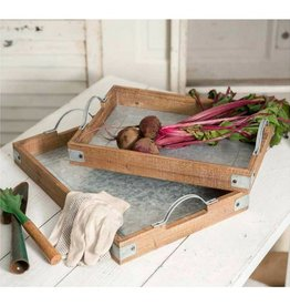 CTW Home Wood & Metal Tray, Lg