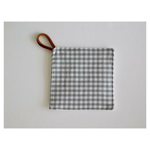 Southern Top Stitch Grey Gingham Pot Holder