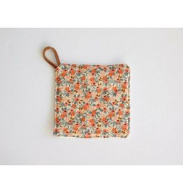 Southern Top Stitch Floral Peach Pot Holder