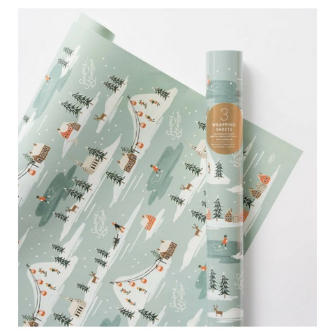 Rifle Paper Holiday Snowscene Wrap, Roll