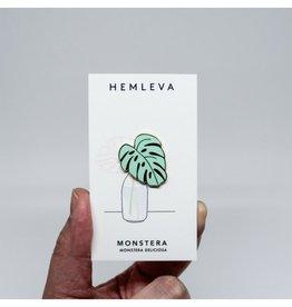 Hemleva Monstera Leaf Green Pin