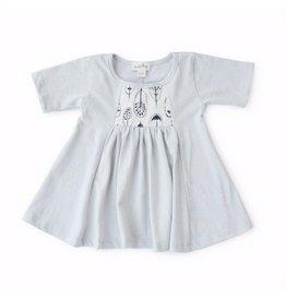 Hazel Village Feather Print Dress, 0-6M