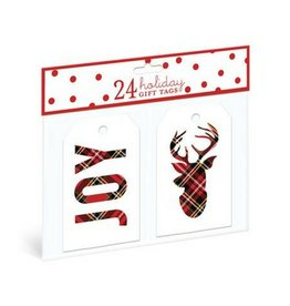 Graphique Plaid Joy Reindeer Gift Tags
