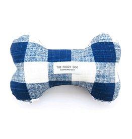 The Foggy Dog Navy Blue Gingham Dog Bone