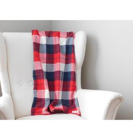 Southern Top Stitch Red Flannel Throw