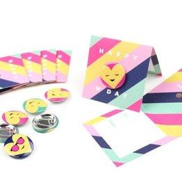 Inklings Emoji Button, Pink Stripe