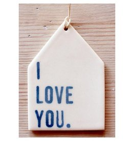 MB Art Studios I Love You Blue Tag