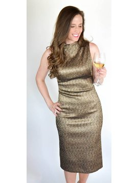 Alice + Olivia Marcella Fitted Dress Gold