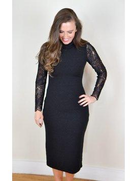 Alice + Olivia Kala Turtleneck Lace Dress Black