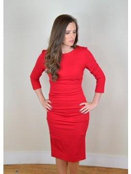 Nicole Miller Long Sleeve Boat Neck Tuck Dress Lipstick