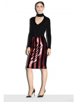 Milly Red Midi Pencil Skirt