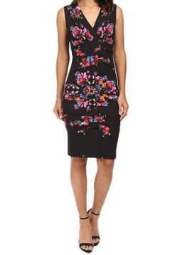 Nicole Miller Black & Floral VNeck Dress