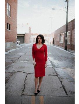 Nicole Miller Red  V-Neck Dress
